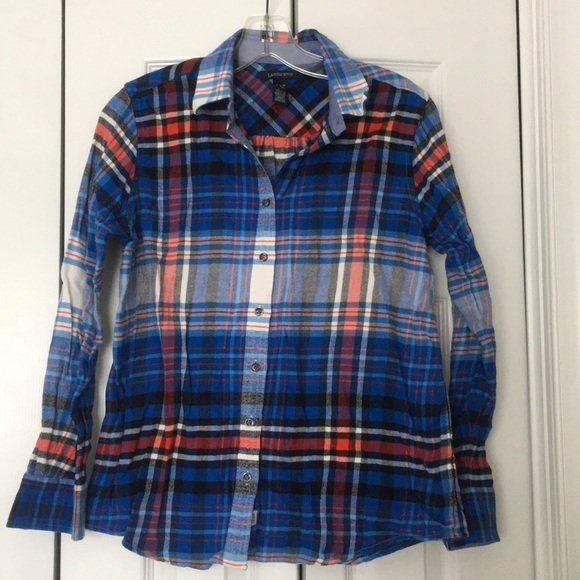 Lands End Tops Lands End Red And Blue Plaid Flannel Button Down